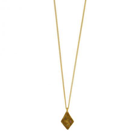 Rhombus necklace with stones